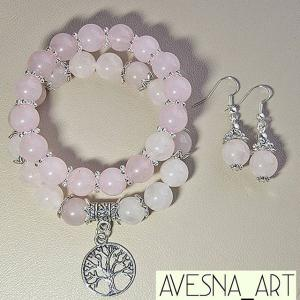 Фото Изделия из натуральных камней Комплект из розового кварца