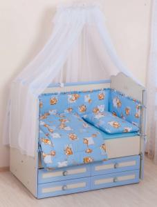 Фото Постельное белье Комплект в кроватку     (7 предметов) №25 голубой