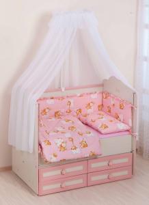Фото Постельное белье Комплект в кроватку     (7 предметов) №25 розовый
