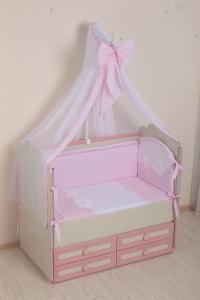Фото Постельное белье Комплект в кроватку (7 предметов) №50 розовый