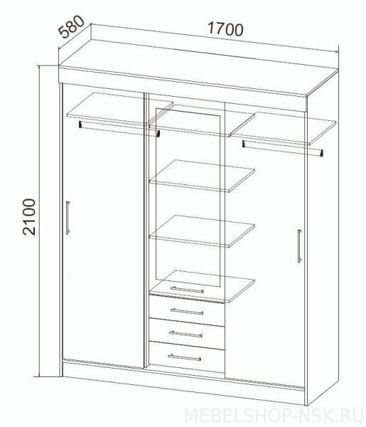 Фото Шкафы, шкафы-купе  Шкаф-купе Сицилия (ДСВ мебель)