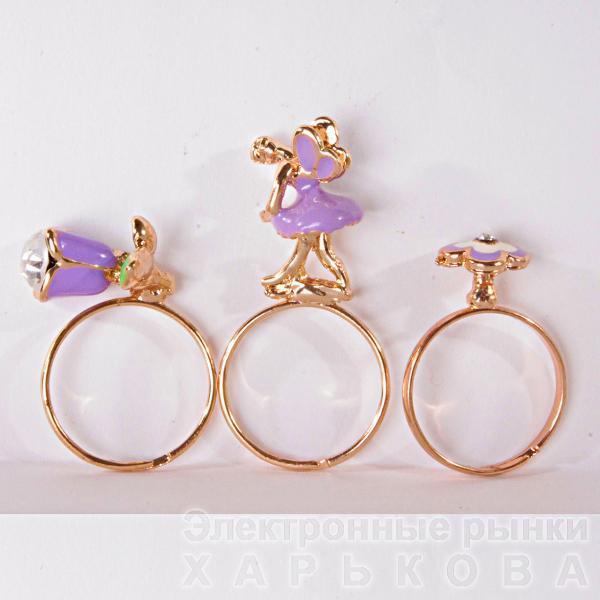 Набор колец 3 шт. цветы дюймовочка фиолетовый