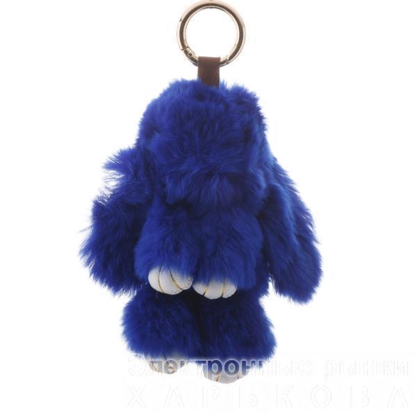 Брелок на сумку Кролик темно синий  (р-р 15 см ) нат. мех кольцо-карабин
