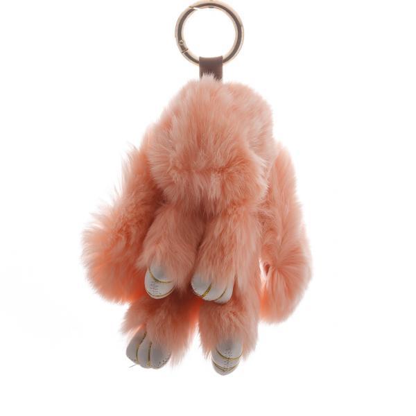 Фото Брелки (брелоки), Брелки меховые Брелок на сумку Кролик персиковый  (р-р 15 см ) нат. мех кольцо-карабин
