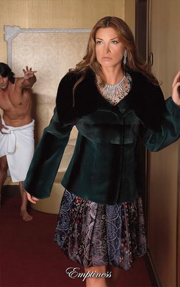 Фото Новинки Жакет из щипаной норки с воротом стойка,отрезной от талии с кокеткой из поперечных пластин норки и каракульчи и с рукавом, отрезным от локтя