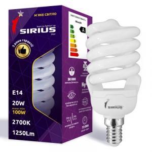 Фото Лампы люминисцентные Люминесцентная лампа Сириус 20W Мягкий свет Спираль E14