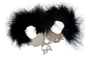 Фото BDSM и электростимуляторы, BDSM игрушки и аксессуары Наручники металлические с черной отделкой Adrien Lastic Handcuffs Black