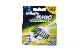 Картридж для бритвенного станка Gillette Mach 3 sensitive (2 шт), Бразилия