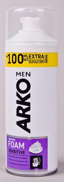 Фото Гели, пены для бритья, средства по уходу за телом., Средства для бритья Пена мужская для бритья ARKO «Sensitive» (300 мл) Турция