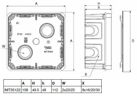 Фото Монтажные коробки Распределительная коробка в кирпичные стены 100х100х50