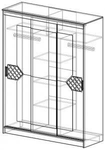 Фото Розница, Шкафы Шкаф-купе с зеркалами в центральном отсеке и декором