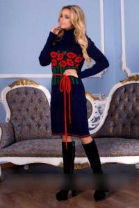 Фото Платья платье вязка с цветами и поясом
