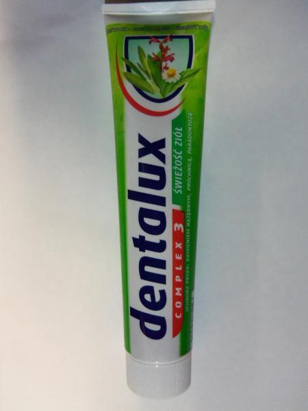 Фото Гели, пены для бритья, средства по уходу за телом., Зубные пасты и щетки зубная паста с травами DENTALUX, 125 мл.
