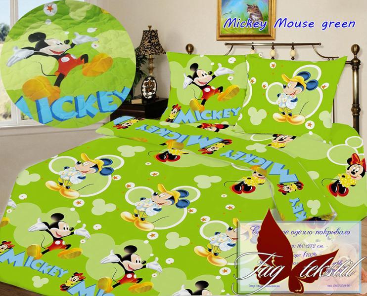 Фото ДЕТСКИЙ ТЕКСТИЛЬ, Покрывала детские Стеганное покрывало Mickey Mouse green