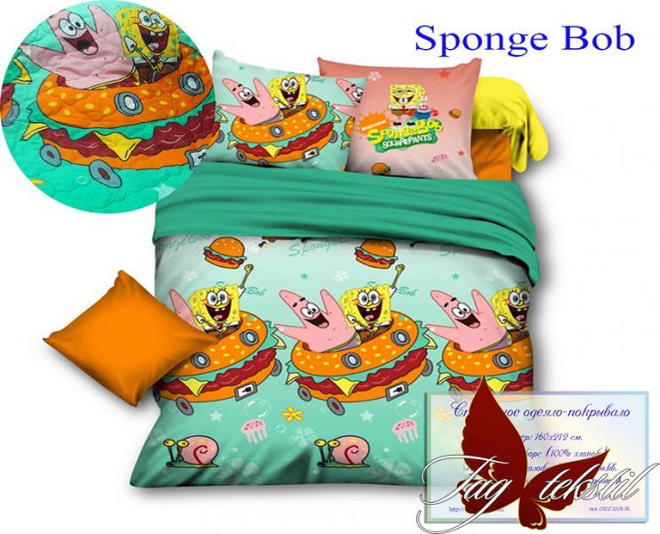 Фото ДЕТСКИЙ ТЕКСТИЛЬ, Покрывала детские  Стеганное покрывало Sponge Bob