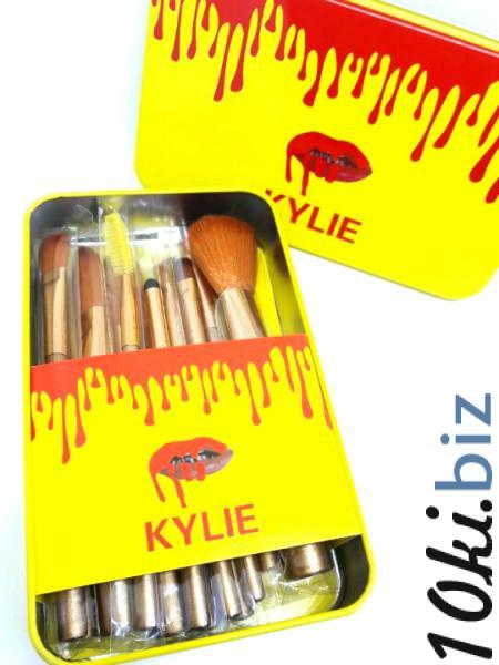 Профессиональный набор кистей для макияжа Kylie Jenner 12 шт (желтая металлическая упаковка)