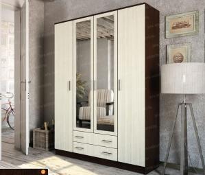 Фото  Шкаф 4-х дверный с выдвижными ящиками и зеркалами. Дуб венге / сосна лоредо.