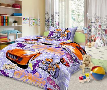 Фото Постельное белье Комплект постельного белья из бязи Граффити 1,5 спальный с 1 наволочкой