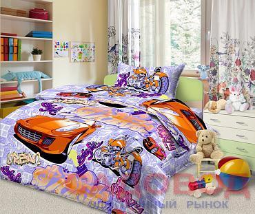 Комплект постельного белья из бязи Граффити 1,5 спальный с 1 наволочкой