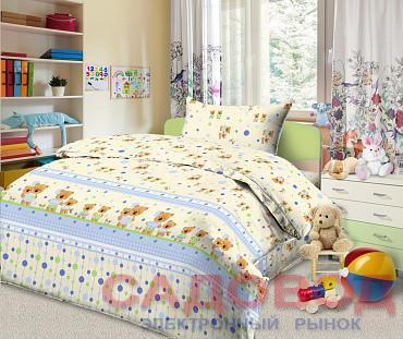 Комплект постельного белья из бязи Мишки и зайки 1,5 спальный с 1 наволочкой
