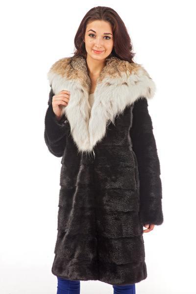 Фото Шубы из норки Норка канадская, черный бриллиант, поперечка, капюшон рысь