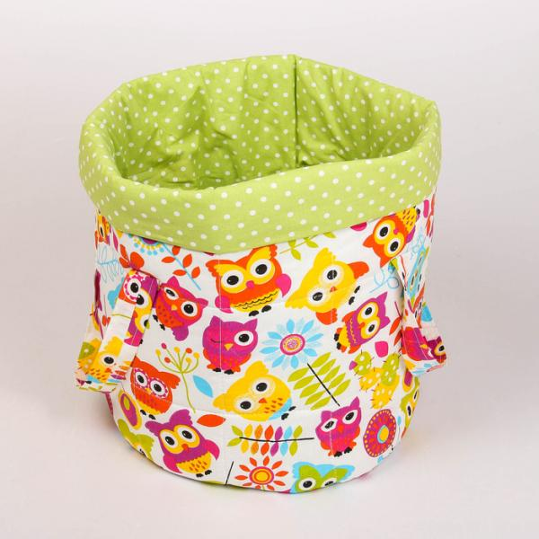 Фото Товары для детей, Товары для детской комнаты, Системы хранения для игрушек Сумка для мелочей, диз.совята/горошек болотный, бязь 140г/м, хл100%