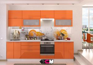 Фото Кухни модульные Кухня Ксения МДФ оранж глянец (Стендмебель)