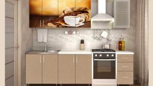Фото кухни, кухни лдсп КОФЕ кухня 2,0м. ЛДСП (фотопечать)