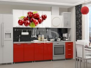 Фото кухни, кухни лдсп ВИШНЯ кухня 2.0м. ЛДСП (фотопечать)