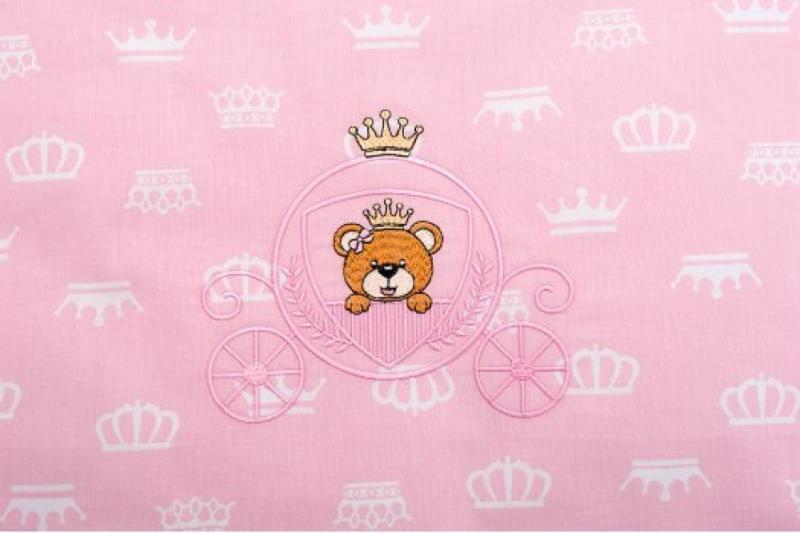 Фото ДЕТСКИЙ ТЕКСТИЛЬ, Детские наборы Постельное белье в коляску Корона, розовый