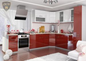 Фото  Кухня ОЛИВА - ГРАНАТ БЕЛЫЙ модульная(ДСВ мебель)