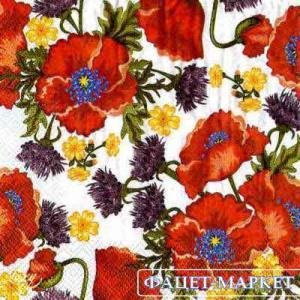 Фото Салфетки для декупажа, Цветы Салфетка Маки и васильки СД-002