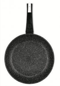 Фото Сковороды и сотейники с антипригарным покрытием Сковорода с крышкой Bergner SAGA Marble d 22 см. BG-8395-BK