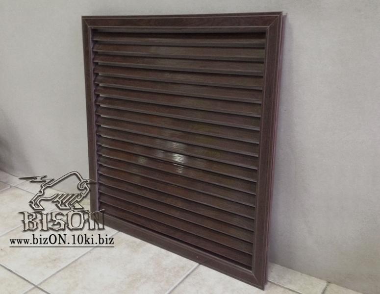 Фото Решетки ПВХ и Экраны МДФ для радиаторов отопления и декора Решетка пластиковая   600 х 600 мм;    цвет  Каштан (темно-коричневый);     для радиаторов отопления и декора