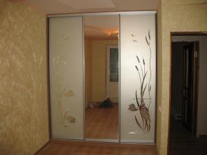 Фото Шкафы, шкафы-купе Шкаф купе зеркало пескоструйный рисунок на матовом фоне