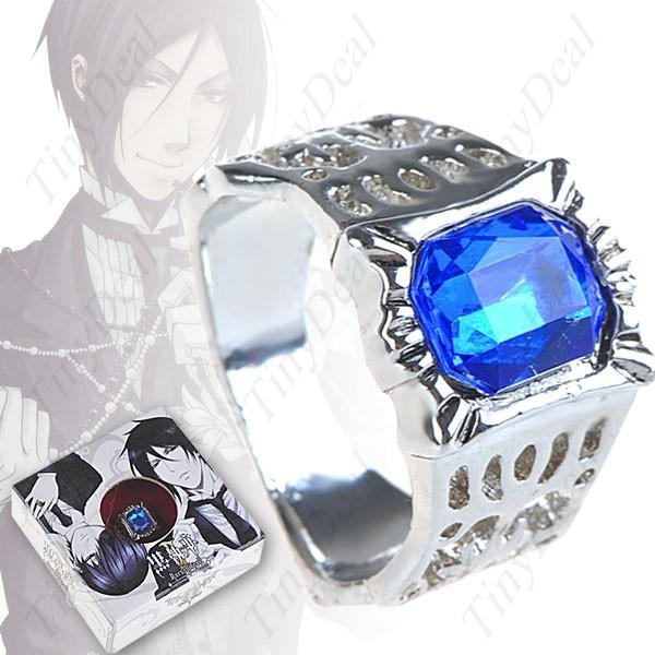 Кольцо аниме синий кристал