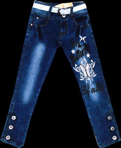 Брюки джинсовые для девочек Бабочка рост 116-140 см.Код 8016