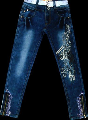 Брюки джинсовые для девочек с рисунком 116-140см. Код #8017