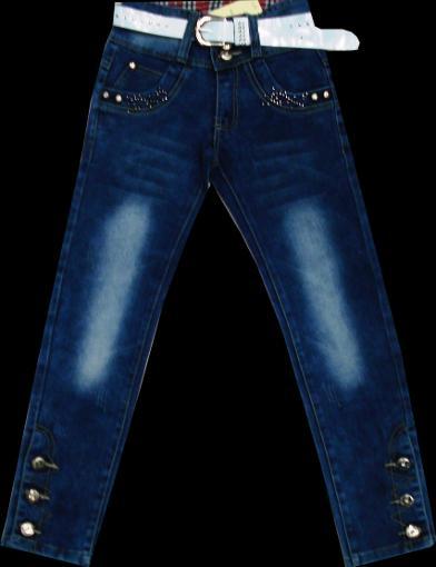 Брюки джинсовые для девочек с поясом116-140см. Код #8012