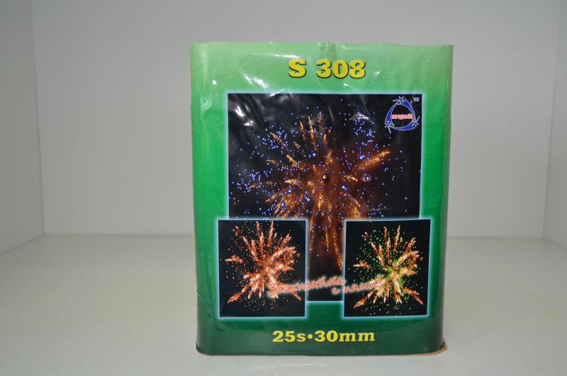 """Салютная установка  S308  25S """"Crackling flower w/BLUE, GREEN, RED star"""" (4/1)"""