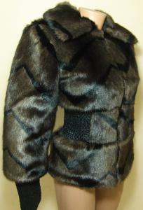 Фото Изделия с мехом Полушубок 25013 коричневый (полоска)