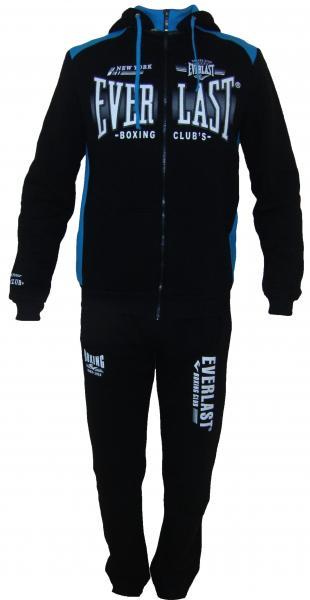 Мужской спортивный костюм 11013 на байке (чёрный с голубым)
