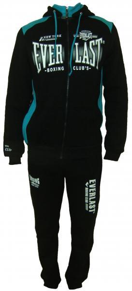 Спортивный мужской костюм 11014 на байке (чёрный с бирюзой)