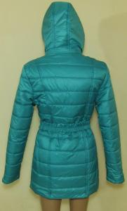 Фото Женские и мужские жилетки и куртки (плащевка)  Пальто женское 24022 осень-зима (бирюза) (размеры 40-46)
