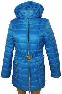 Фото Женские и мужские жилетки и куртки (плащевка)  Пальто женское 24023 осень-зима (голубой) (размеры 40-46)
