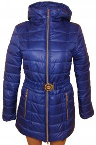 Фото Женские и мужские жилетки и куртки (плащевка)  Пальто женское 24024 осень-зима (васильковый) (размеры 42-48)
