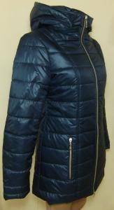 Фото Женские и мужские жилетки и куртки (плащевка)  Женское пальто  24025 осень-зима (тёмно-синий) (только 40 и 42р)