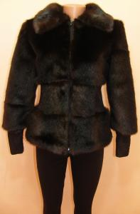 Фото Изделия с мехом Полушубок 25011 тёмно-коричневый (ещё есть в чёрном цвете)