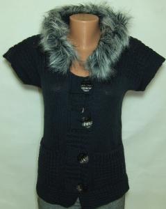 Фото Женский трикотаж (платья, кофты, туники) Женская кофта с капюшоном 23019 тёмно-синяя