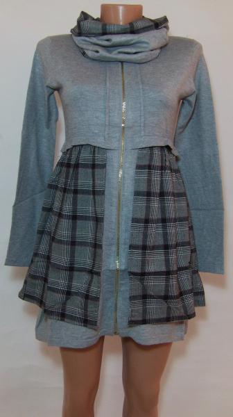 Женское трикотажное платье 23036 (двусторонний ,съемный воротник-хомут)